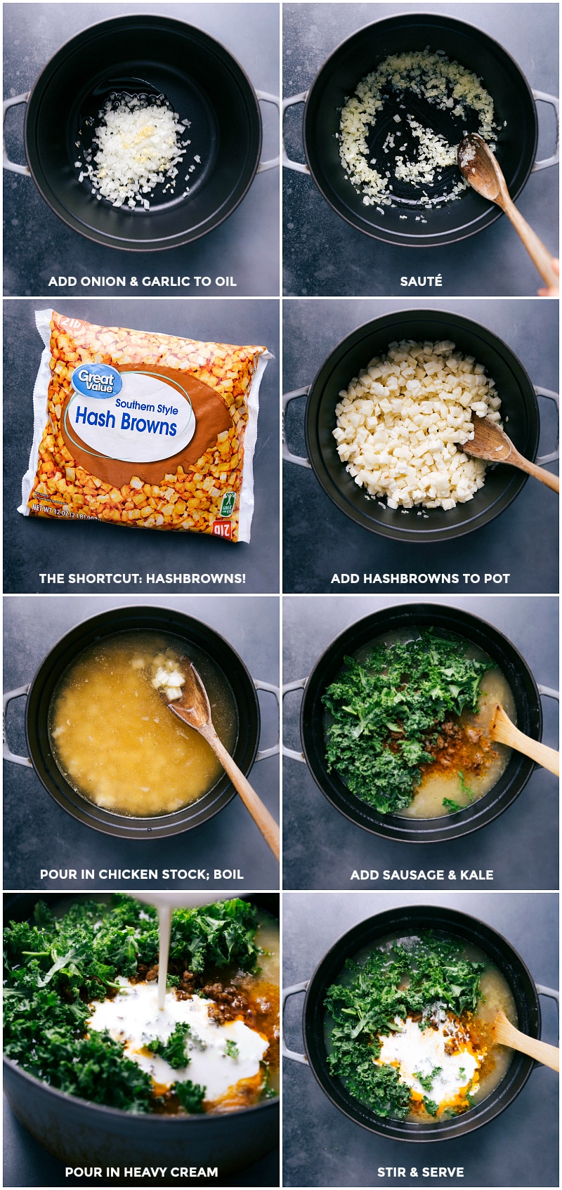 Process shots-- images of all the ingredients being added to the pot and being mixed together.