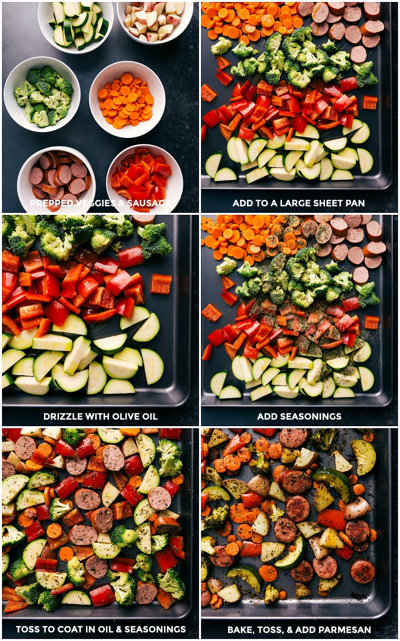 Process shots-- images of the veggies being chopped and added to a sheet pan; seasonings and olive oil being drizzled over them all; veggies fresh out of the oven.