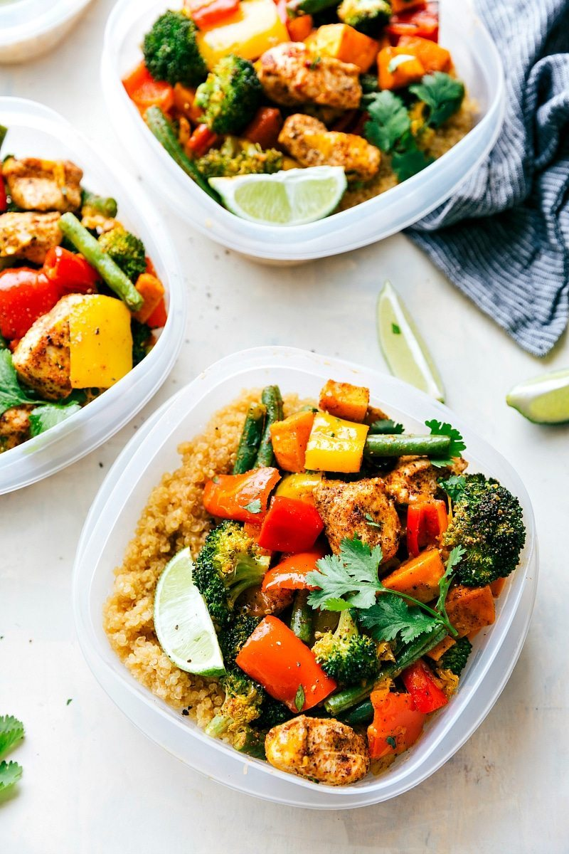 One Pan Healthy Chicken and Veggies - a great healthy way to meal prep for the week! chelseasmessyapron.com