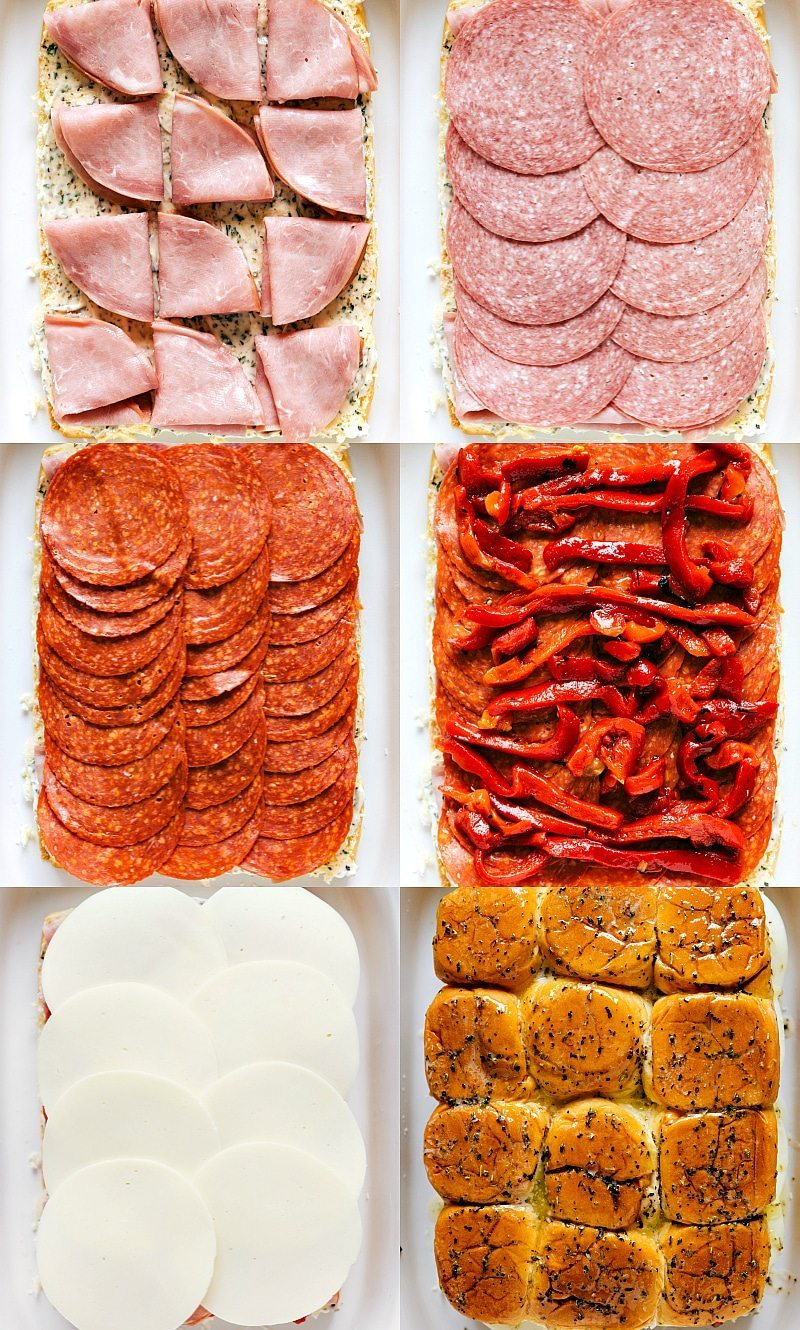 EASY BAKED ITALIAN SLIDERS! Easy baked Italian sliders with ham, salami, pepperoni, roasted red peppers, and provolone. These sliders are so quick, easy, and make the perfect appetizer! I chelseasmessyapron.com
