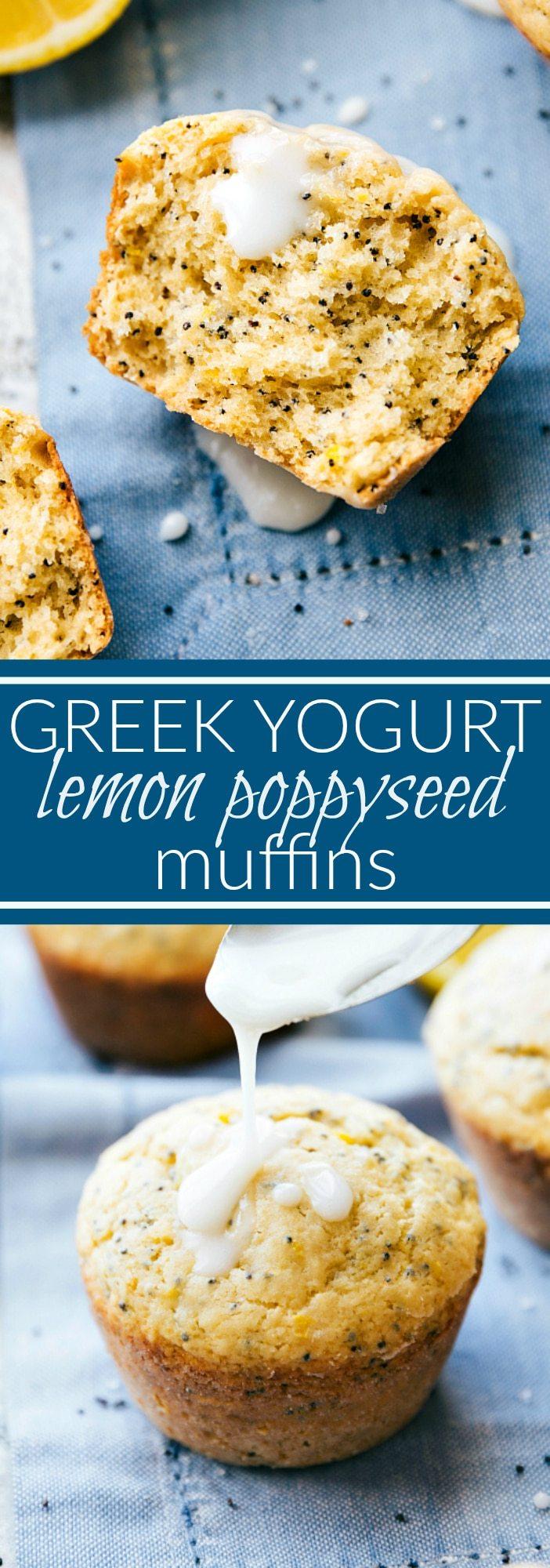 GREEK YOGURT LEMON POPPYSEED MUFFINS. Made with healthier ingredients! via chelseasmessyapron.com