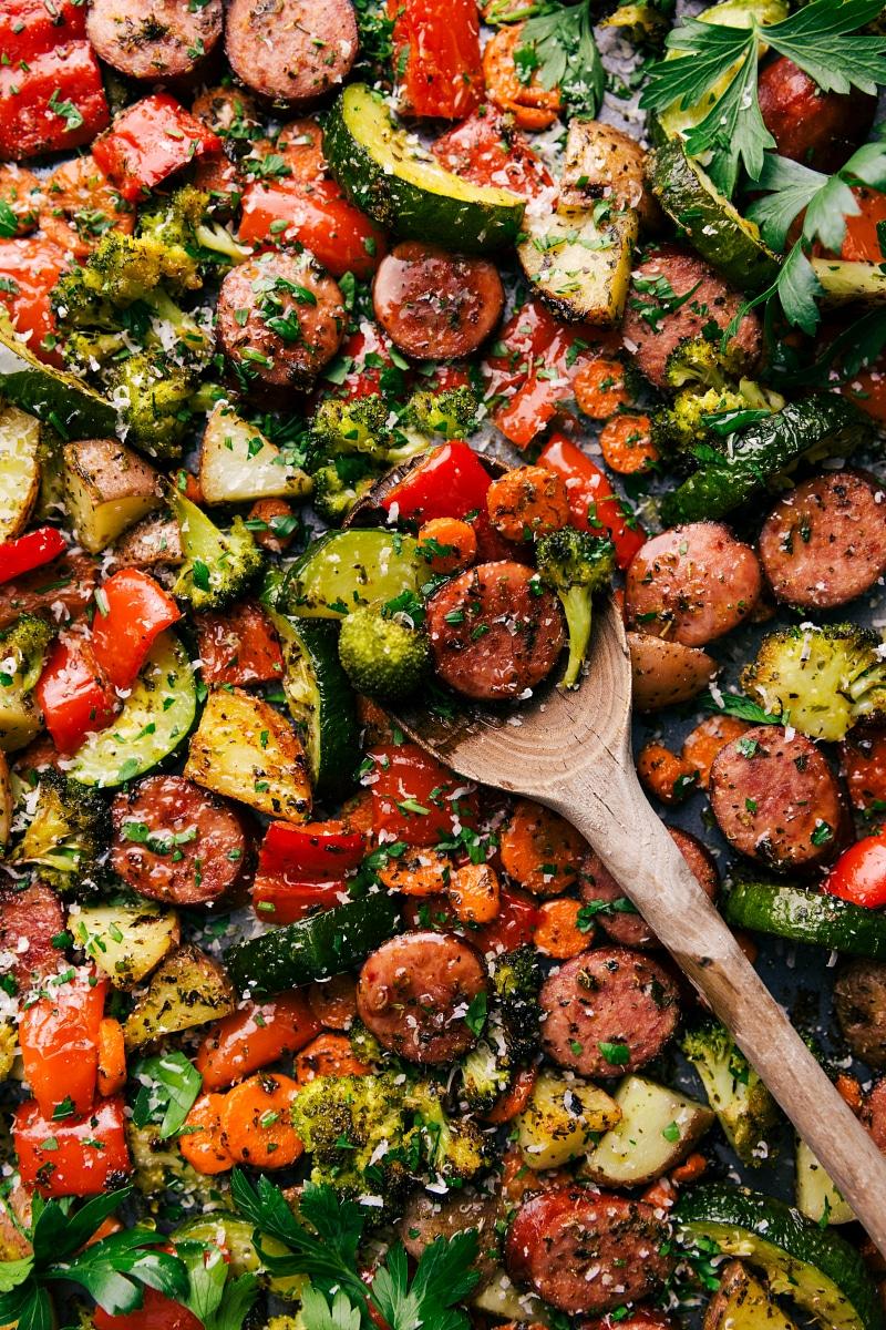 Overhead image of One-Pan Italian Sausage and Veggies.