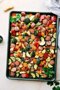 One Pan Sausage & Veggies with parmesan