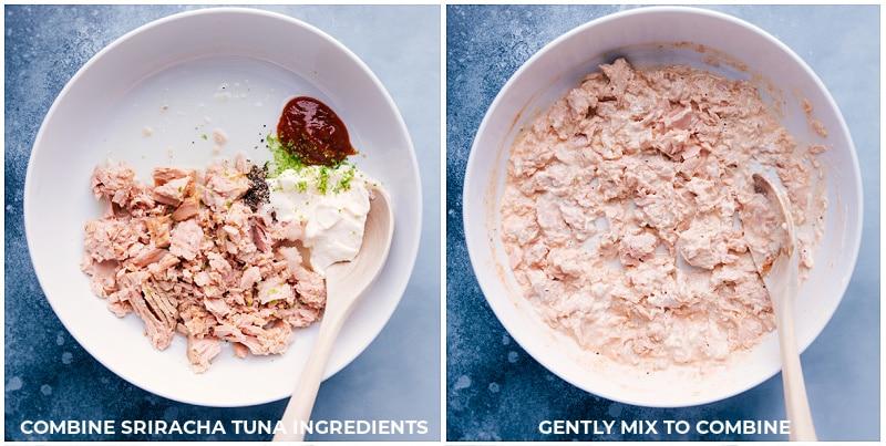 Process shots: combine tuna with the Sriracha sauce ingredients; mix gently.