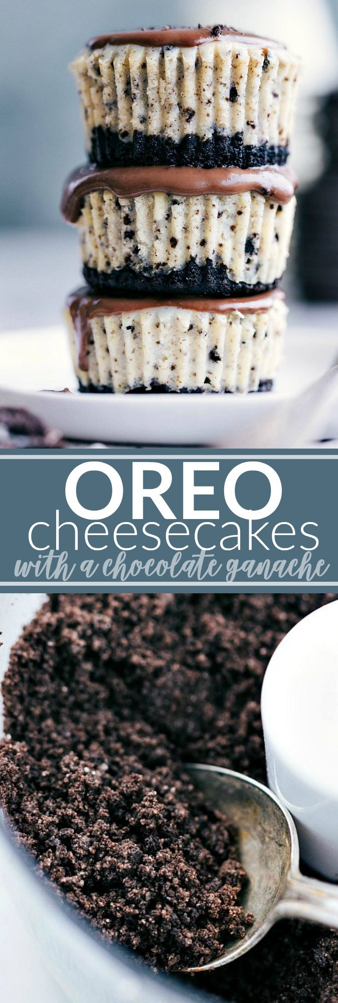The ultimate BEST EVER miniature oreo cheesecakes with an easy chocolate ganache. via chelseasmessyapron.com #mini #oreo #cheesecake #cheesecakes #dessert #easy #tips #kidfriendly #sweet #cookie #chocolate #ganache