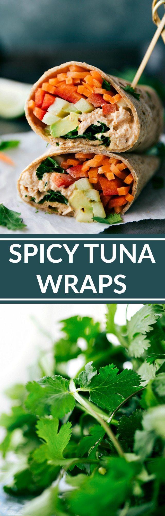 SPICY TUNA WRAPS! Healthy easy and delicious! via chelseasmessyapron.com