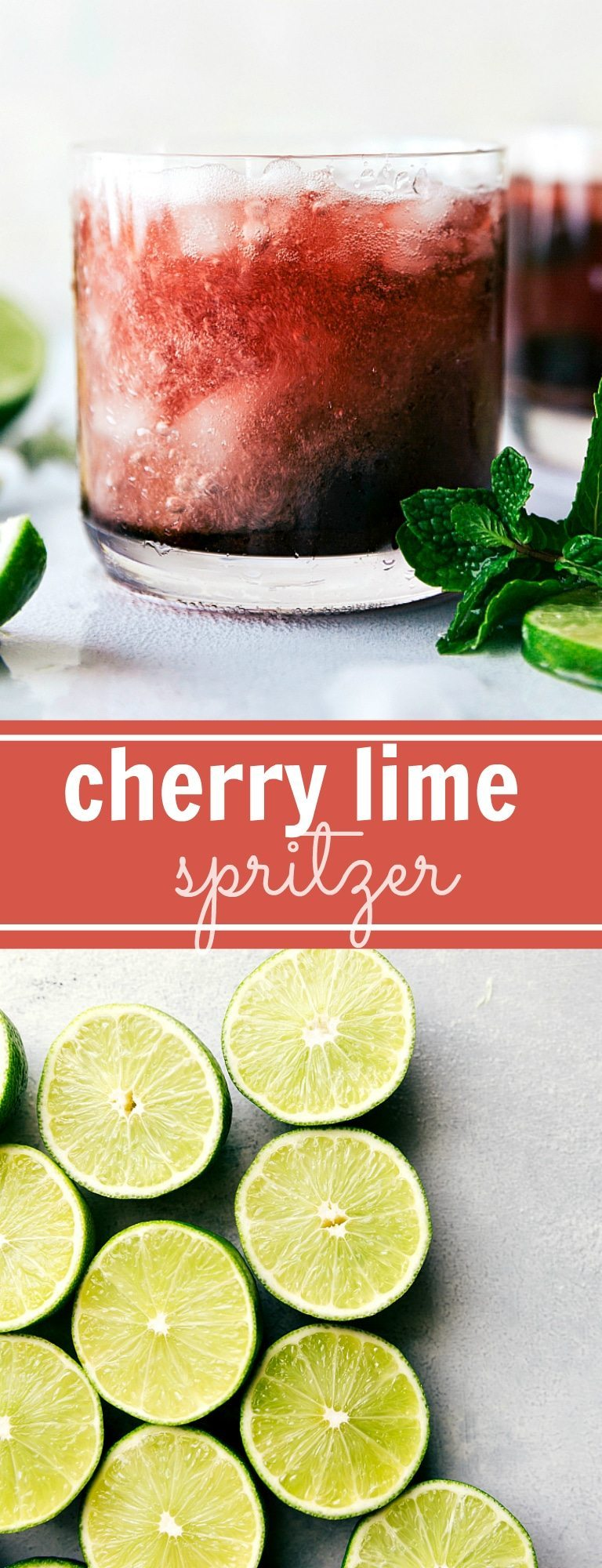 CHERRY LIME SPRITZER! An easy to make and tasty mock-tail via chelseasmessyapron.com