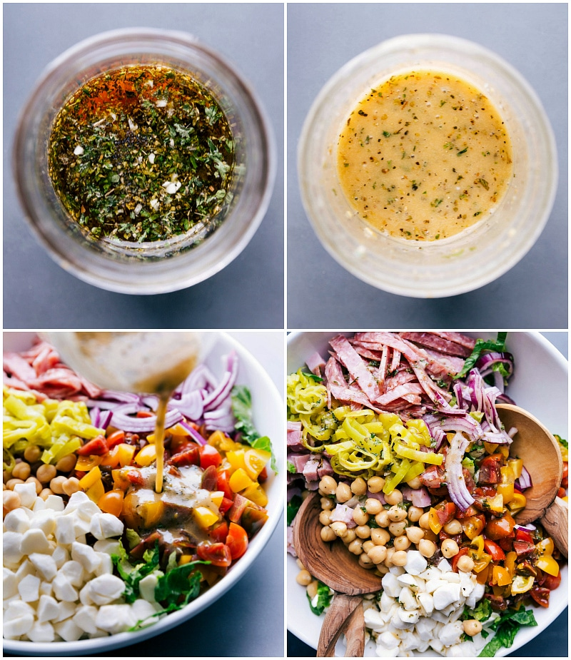 Process shots-- images of the dressing being made and poured over the salad.
