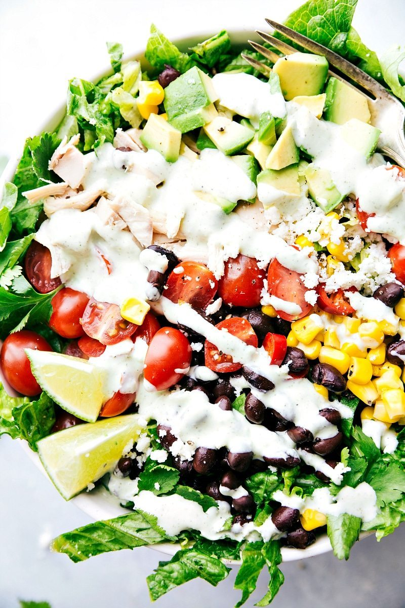 MEXICAN CHOPPED CHICKEN SALAD. An easy and delicious chopped chicken salad with the most amazing creamy cilantro-lime dressing. via chelseasmessyapron.com