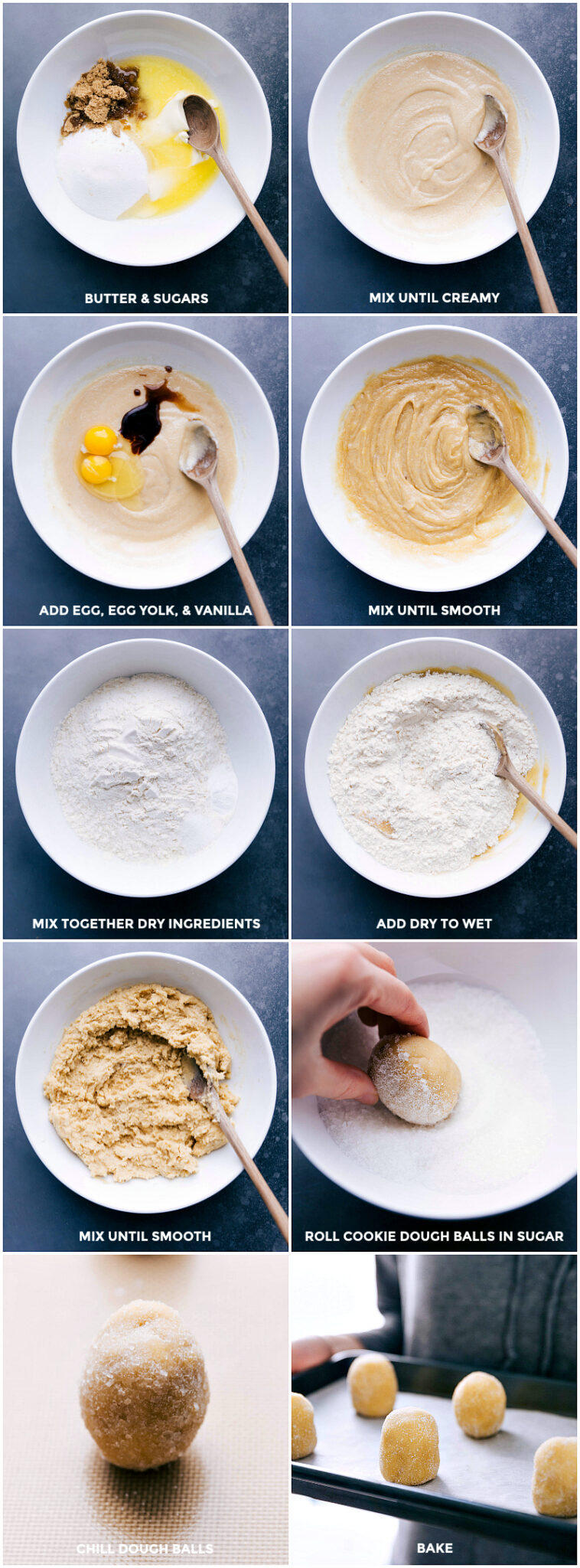 Process shots, making Soft Sugar Cookie dough: combine and mix butter and sugars; add eff, yolk and vanilla and mix until smooth; mix dry ingredients and add to wet ingredients; mix until smooth; roll cookie dough balls in sugar; chill dough balls; bake.