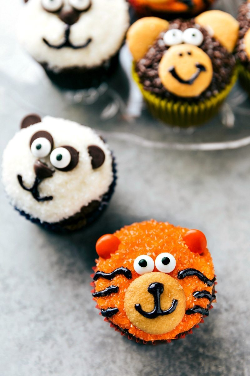 EASY JUNGLE CUPCAKES! Four simple and easy to make animal jungle cupcakes -- a zebra, monkey, tiger, and a panda. I chelseasmessyapron.com