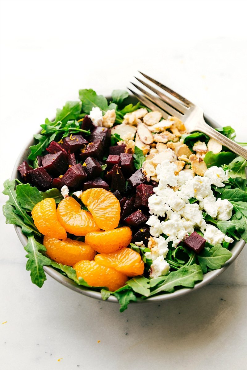 Overhead image of the roasted beet and goat cheese salad