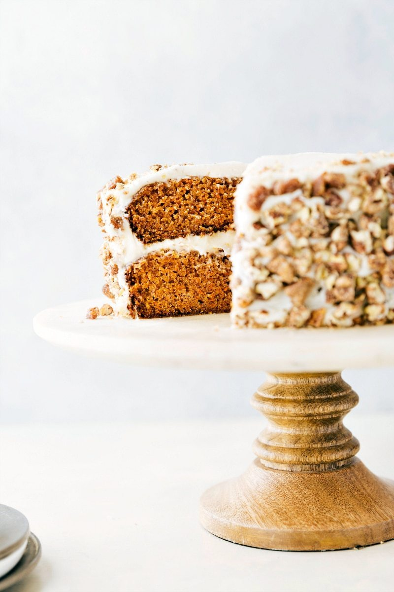 Shot of carrot cake on a cake stand