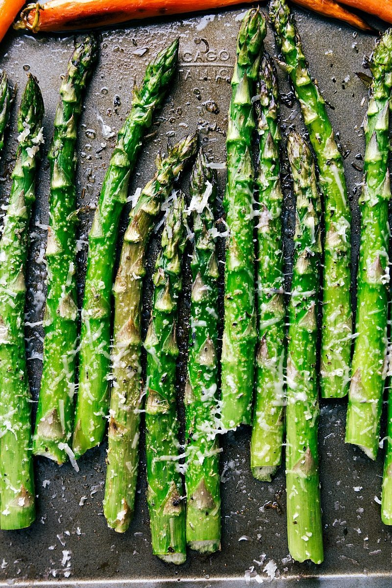Image of the roasted asparagus that goes into this easter dinner menu
