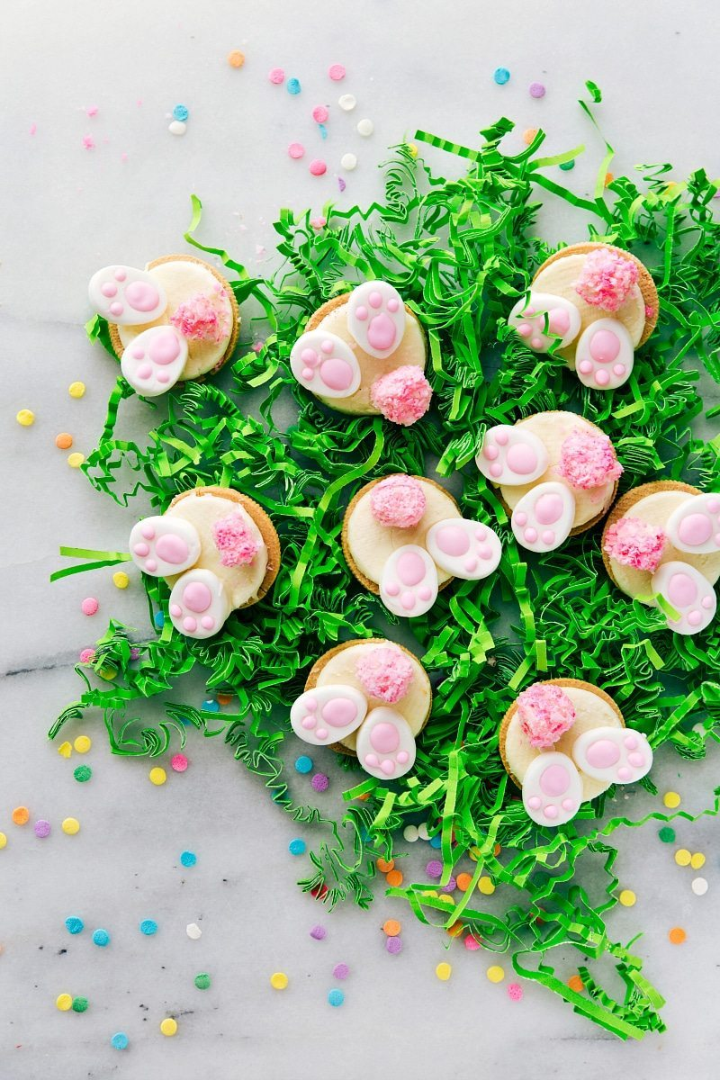 4 Simple Easter Treats that require little effort & time and few ingredients -- Bunny Bum Cookies, Easter Bunny Cinnamon Rolls, Easter Egg Nests, and Mini Egg Petit Fours.
