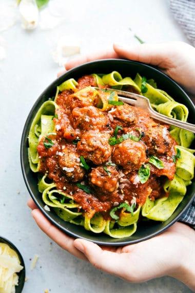 Mini Mozzarella Meatballs & Pappardelle