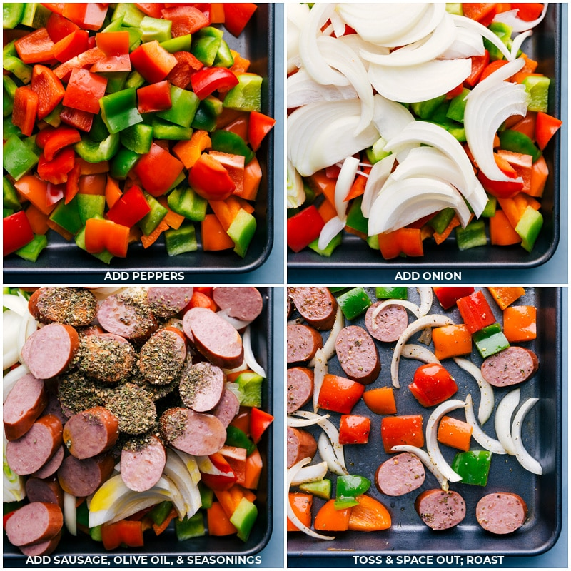 Process shots: adding peppers, onions, seasonings and oil; toss and roast.