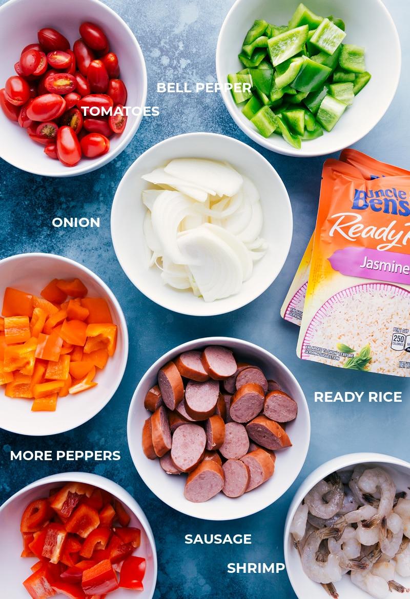 Ingredient shot: elements that go into this One-Pan Jambalaya recipe