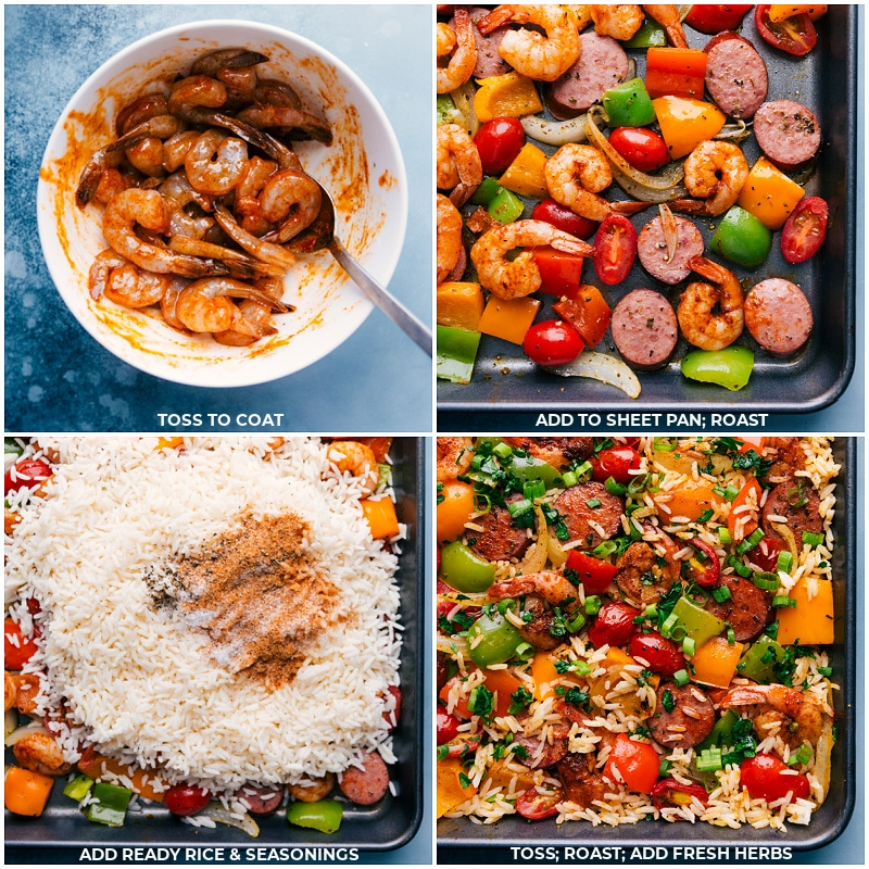 Process shots: mix shrimp with sauce; add to the sheet pan; add rice and more seasonings; finish roasting and add fresh herbs.