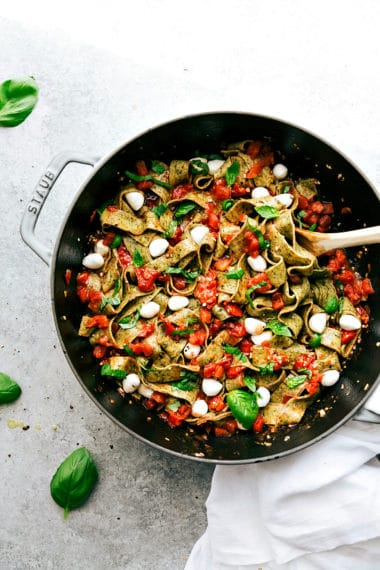Caprese Pasta with Basil Pappardelle