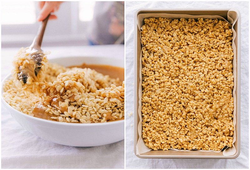 Mix the peanut butter syrup into the cereal; press into a prepared pan.