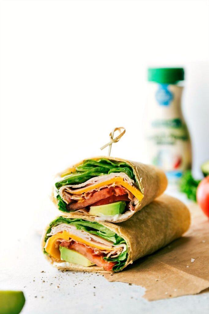 Turkey Avocado Ranch Club Wraps