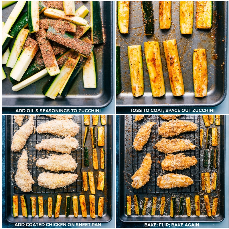Process shots-- Toss the zucchini with seasoning; bake on a prepared pan; place chicken tenders on a cooling rack and add to the pan; bake until crispy and tender.
