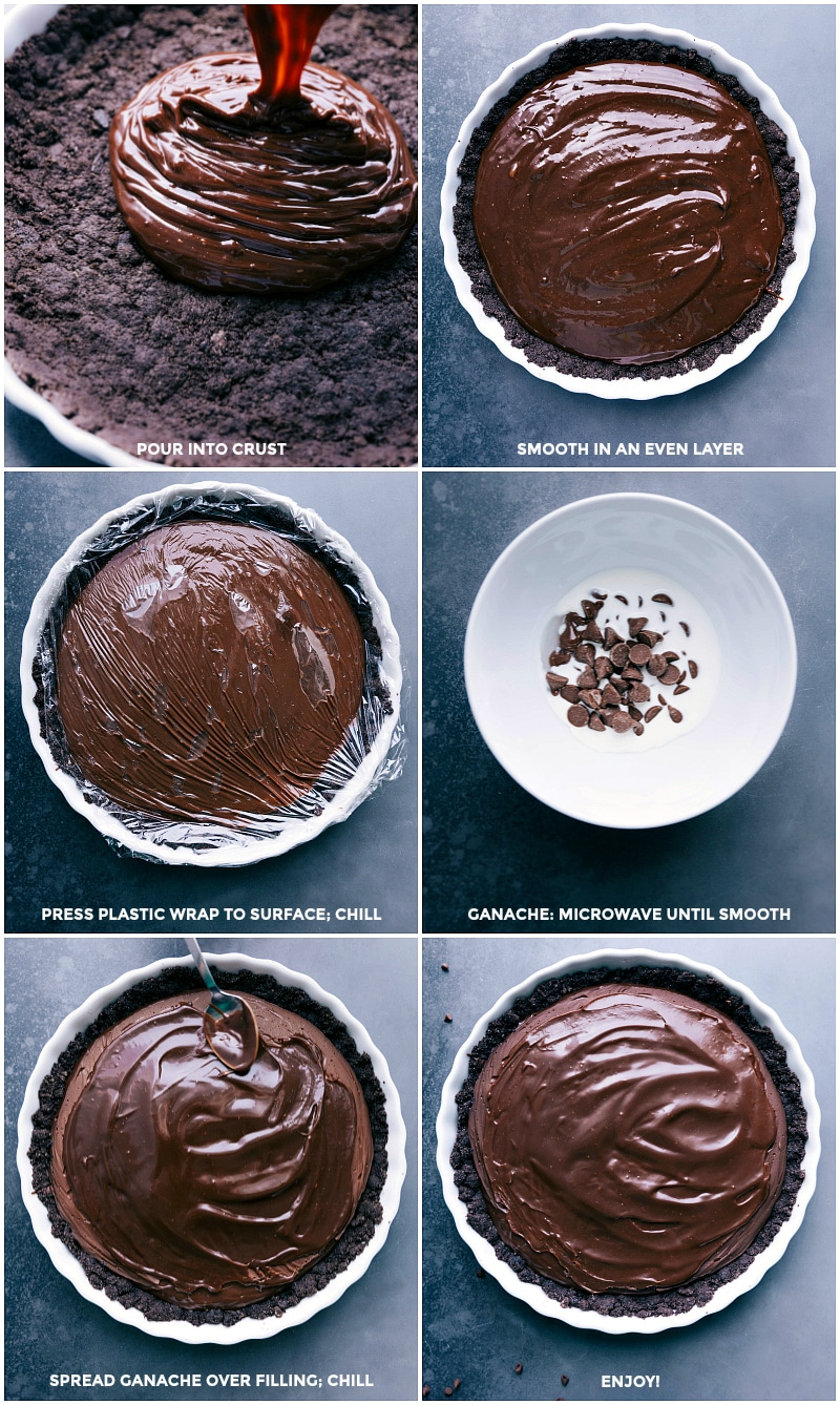 Process shots: Making the chocolate filling and ganache: pour filling into the crust; smooth in an even layer; press plastic wrap to the surface and chill; microwave cream and chocolate until smooth; spread ganache over filling; chill again and then enjoy.