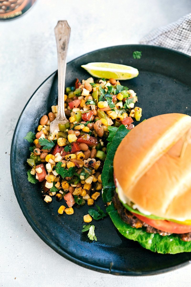 Inside-Out Cheeseburgers + Corn Salsa I chelseasmessyapron.com
