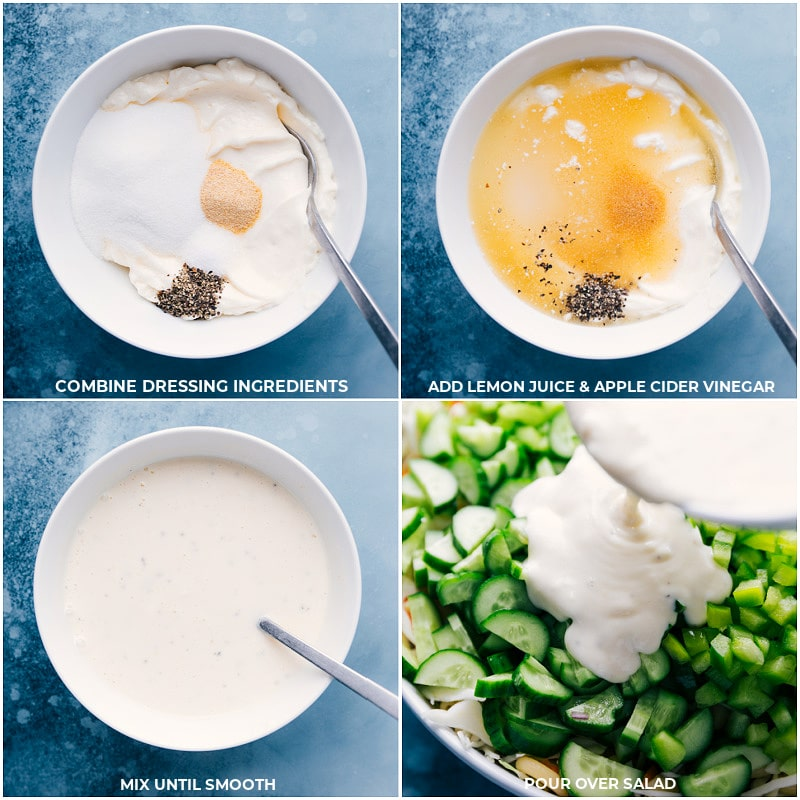 Process shots-- images of the dressing being made and poured over the macaroni coleslaw salad