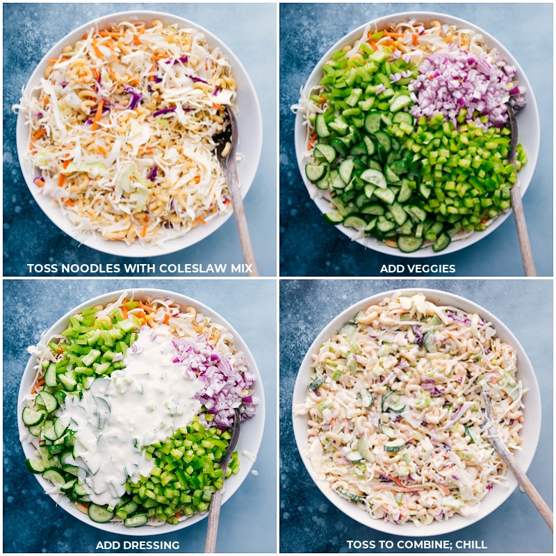 Process shots-- images of all the veggies and coleslaw being added to a bowl and the pasta being added and it all being tossed together with the dressing