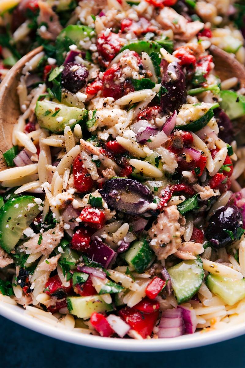 Close-up view of the dressed Mediterranean Tuna Salad.