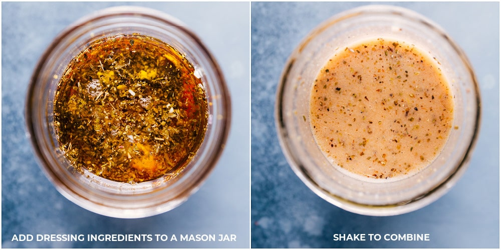 View of the dressing ingredients, before and after being mixed.