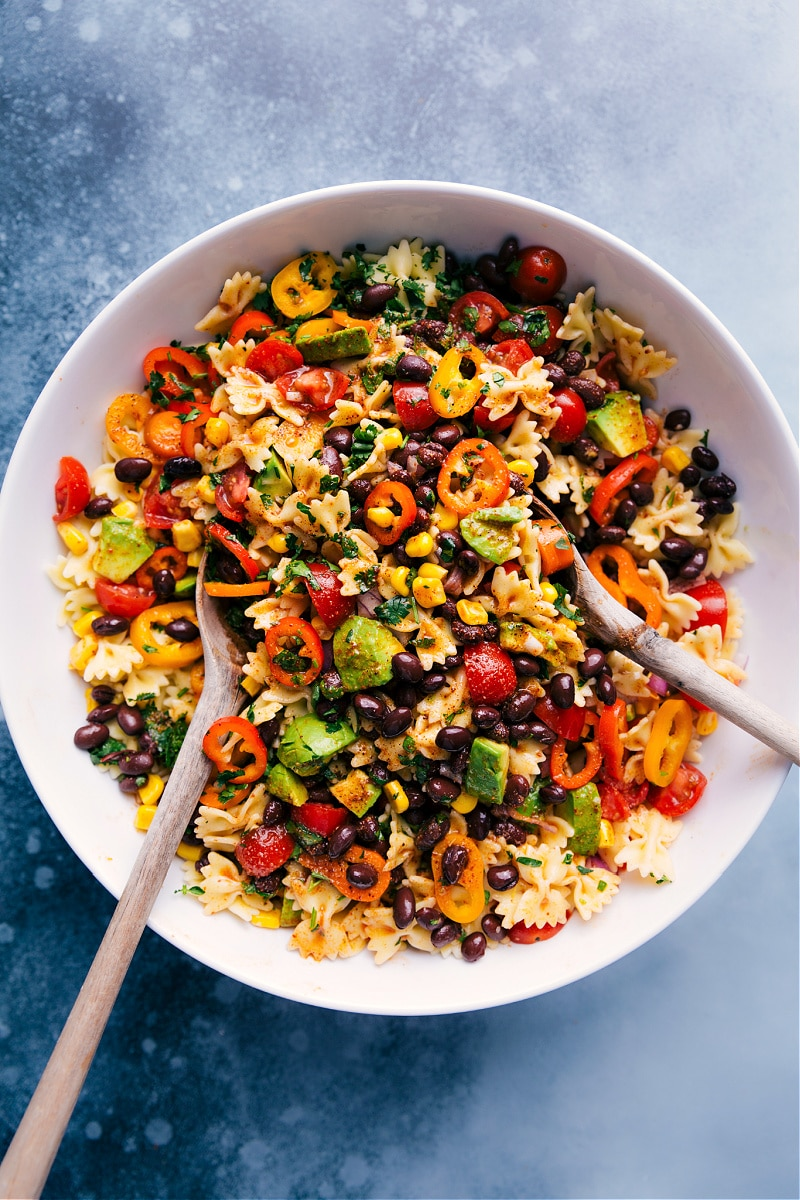 Overhead image of Mexican Pasta Salad, ready to be served.
