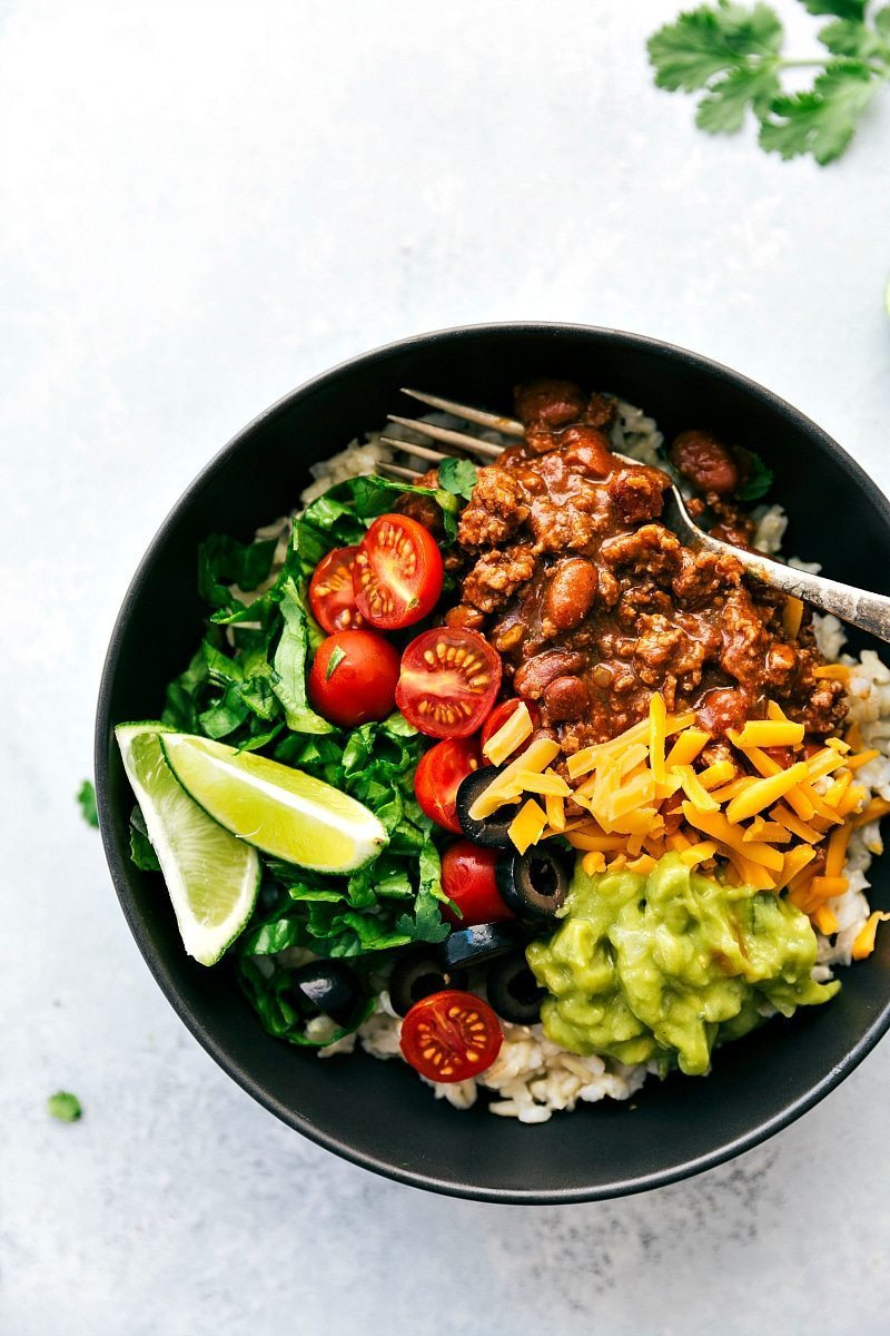 """NAVAJO TACO BOWLS I Ditch the fry bread and serve these """"Navajo Tacos"""" over rice! A healthier, 30-minute, simple dinner recipe. via chelseasmessyapron.com"""