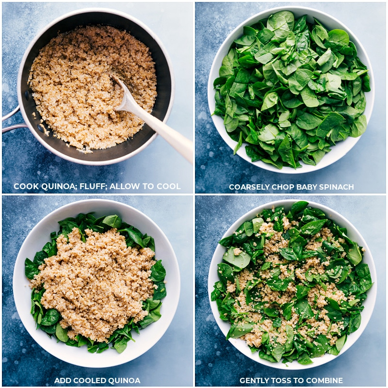 Process shots: cooking the quinoa; chopping the baby spinach; combining spinach and quinoa; toss to combine.