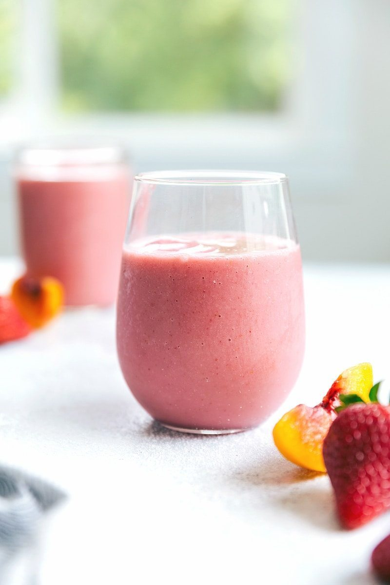 """5 minutes to make! The absolute BEST EVER Dessert Strawberry Smoothie -- a """"Jamba Juice Copycat recipe made dairy-free."""" I from chelseasmessyapron.com"""
