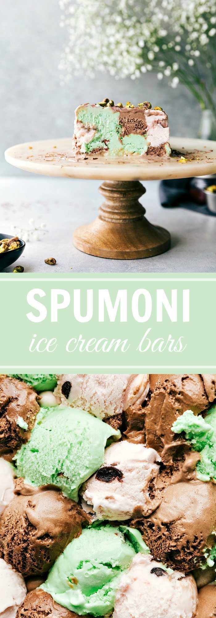SPUMONI ICE CREAM TERRINE! Layer 3 flavors of ice cream in a bread pan and you get this amazing dessert! Plus an easy tart cherry sauce! via chelseasmessyapron.com