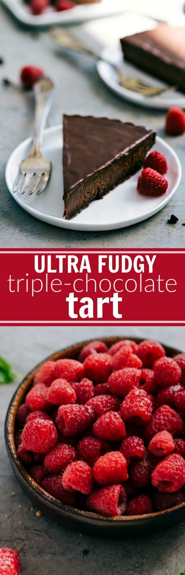 The ultimate BEST EVER triple chocolate fudge tart via chelseasmessyapron.com