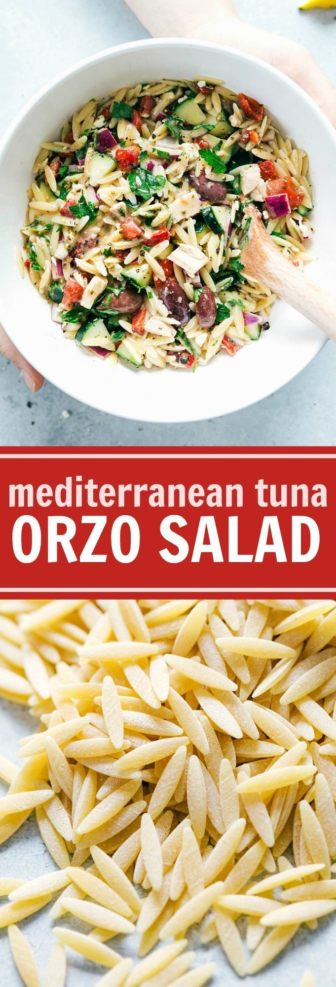 A deliciously light and healthy Mediterranean-inspired orzo salad with tuna, veggies, and a lemon-oregano vinaigrette. via chelseasmessyapron.com