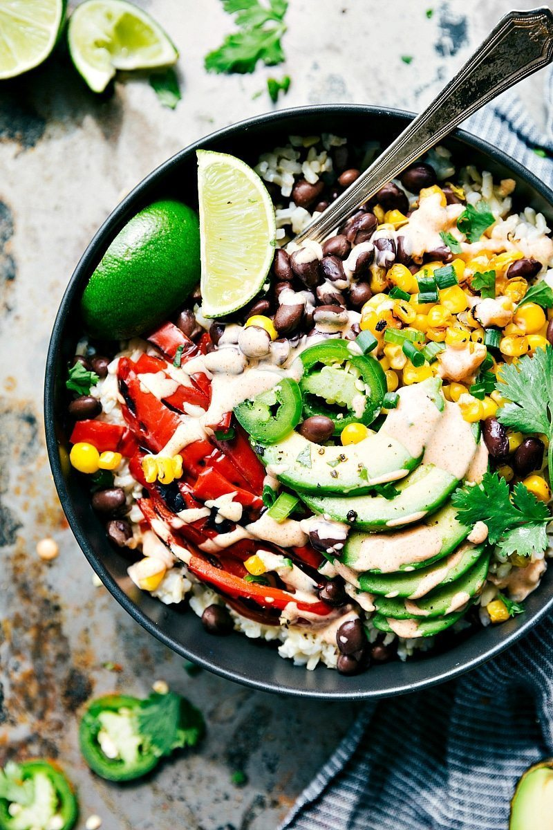 "Easy & Healthy ""Mexican Street Corn"" Burrito Bowls! This healthy and delicious meal brought to you by chelseasmessyapron.com"