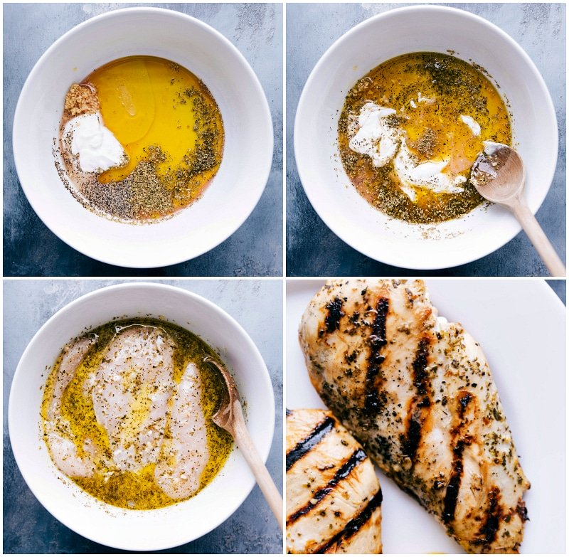 Overhead image of the chicken marinade; images of the chicken in the marinade; image of the grilled chicken fresh off the grill.