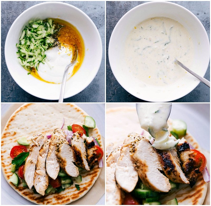 Process shots-- images of the tzatziki sauce being made and then poured over the dish.
