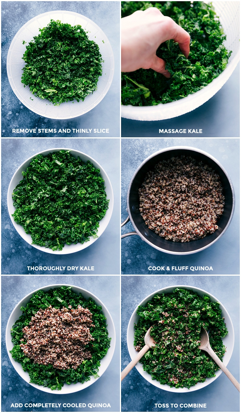 Process shots: slice kale; massage it; dry it; cook and fluff quinoa; add cooled quinoa to the kale; toss to combine.