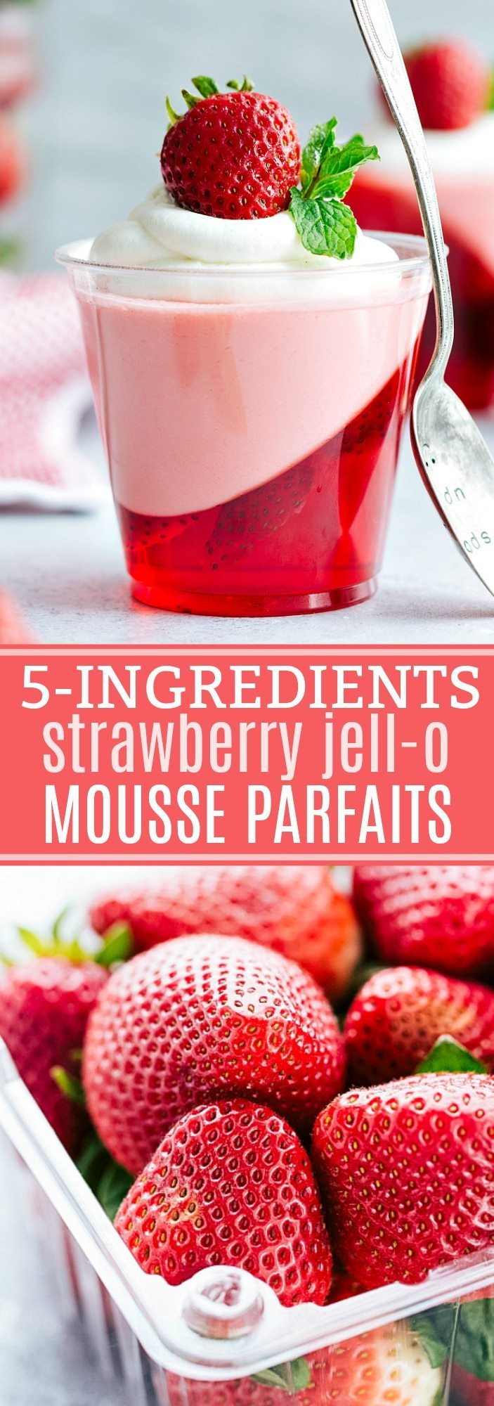 The coolest and EASIEST hack to make these slanted jell-o parfait cups with a strawberry mousse on top. Delicious and so easy -- only FIVE ingredients!!! Via chelseasmessyapron.com