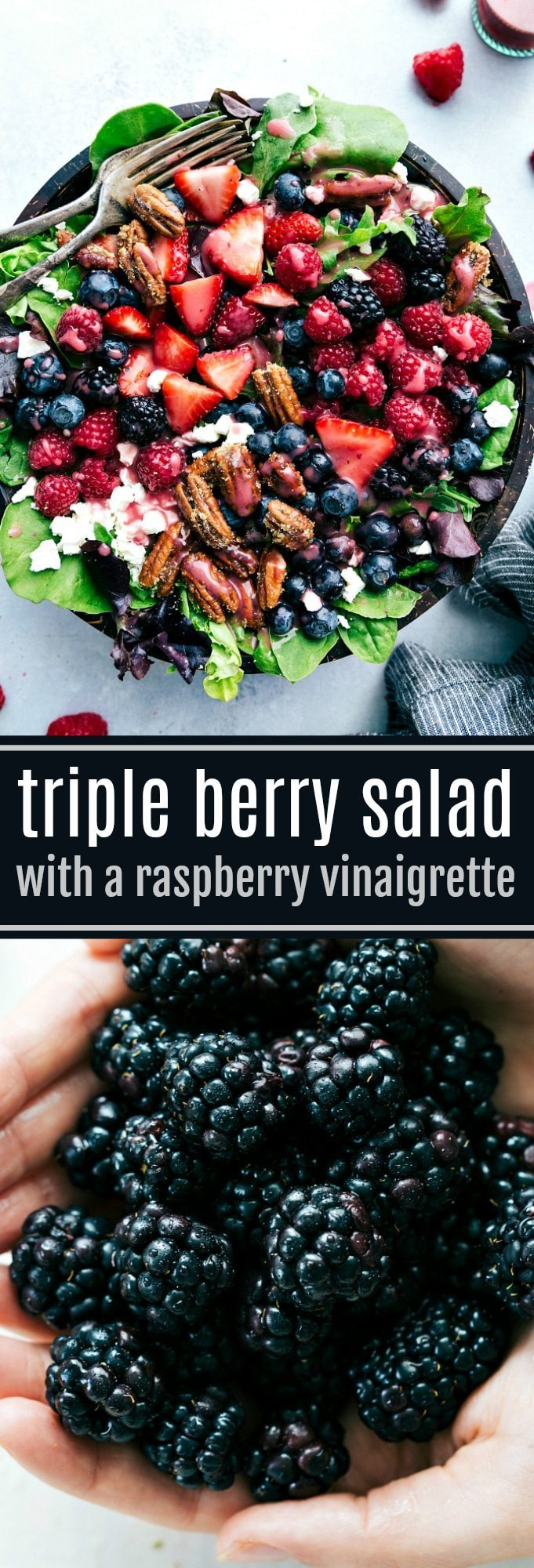 The BEST berry salad with candied pecans and the ultimate raspberry vinaigrette! Recipe from chelseasmessyapron.com