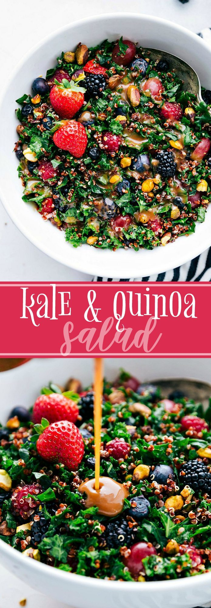 The ultimate BEST EVER kale and quinoa salad! Healthy and easy to make! via chelseasmessyapron.com | #healthy #kale #quinoa #salad #easy #quick #berries #health #dressing