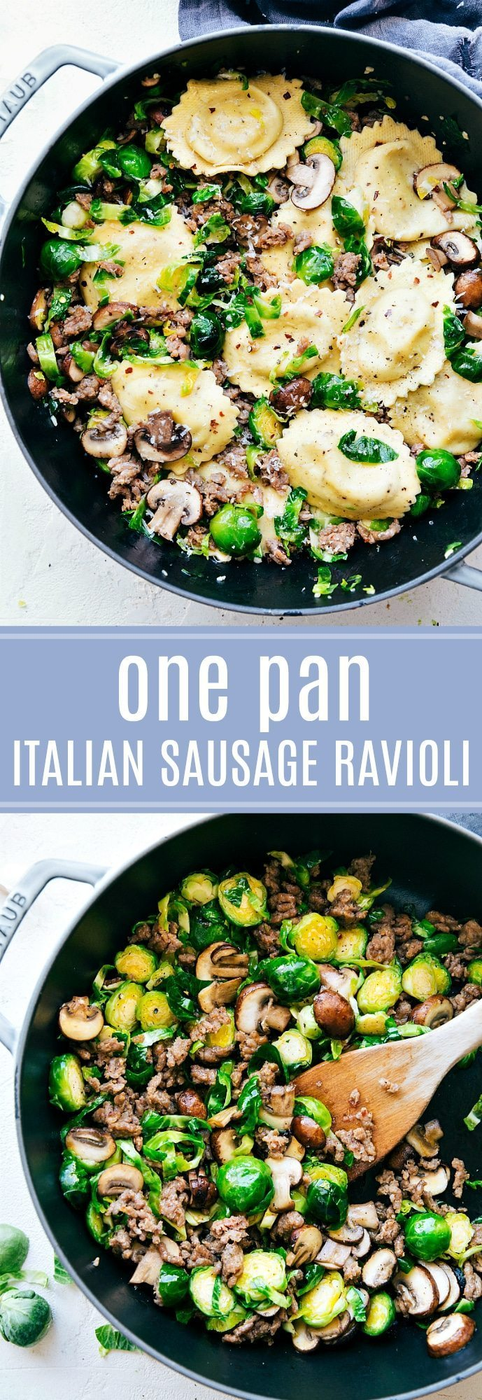 20-minute dinner recipe!!! Italian Sausage, Brussels, and Mushroom Ravioli. No heavy creams and so delicious! via chelseasmessyapron.com