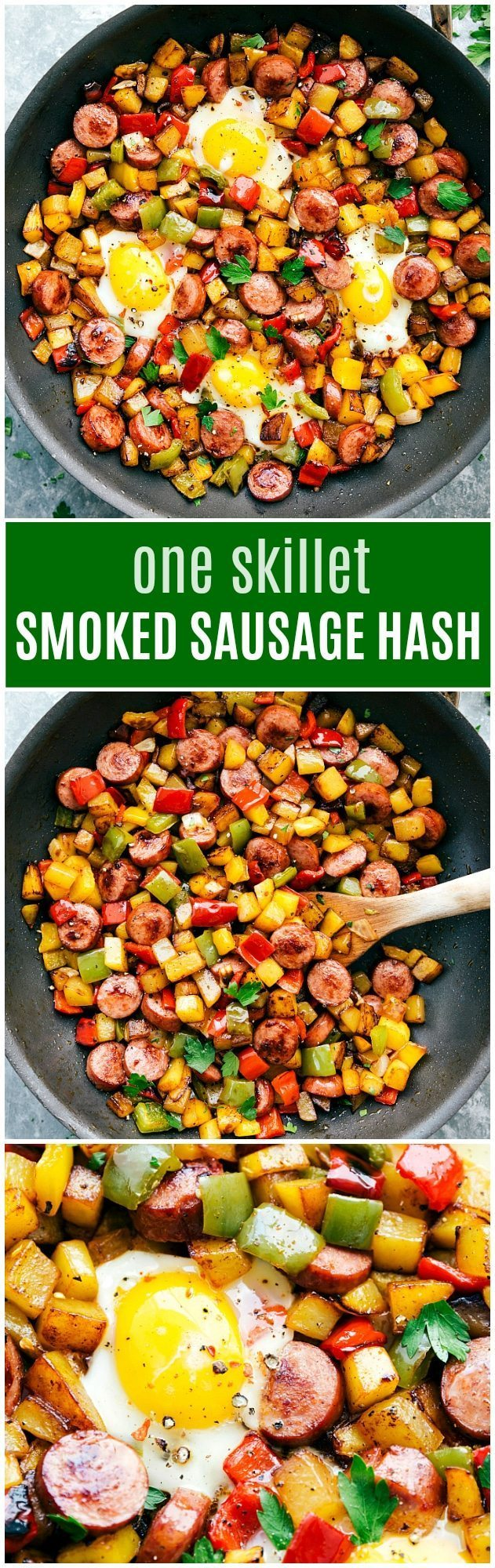 The ultimate best ever ONE POT smoked sausage, potato, and veggie hash! Delicious, healthy, and easy to make! via chelseasmessyapron.com