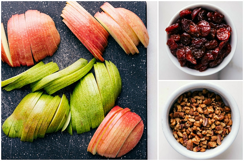 Process shot-- images of the apple, pear, dried cranberries, and walnuts